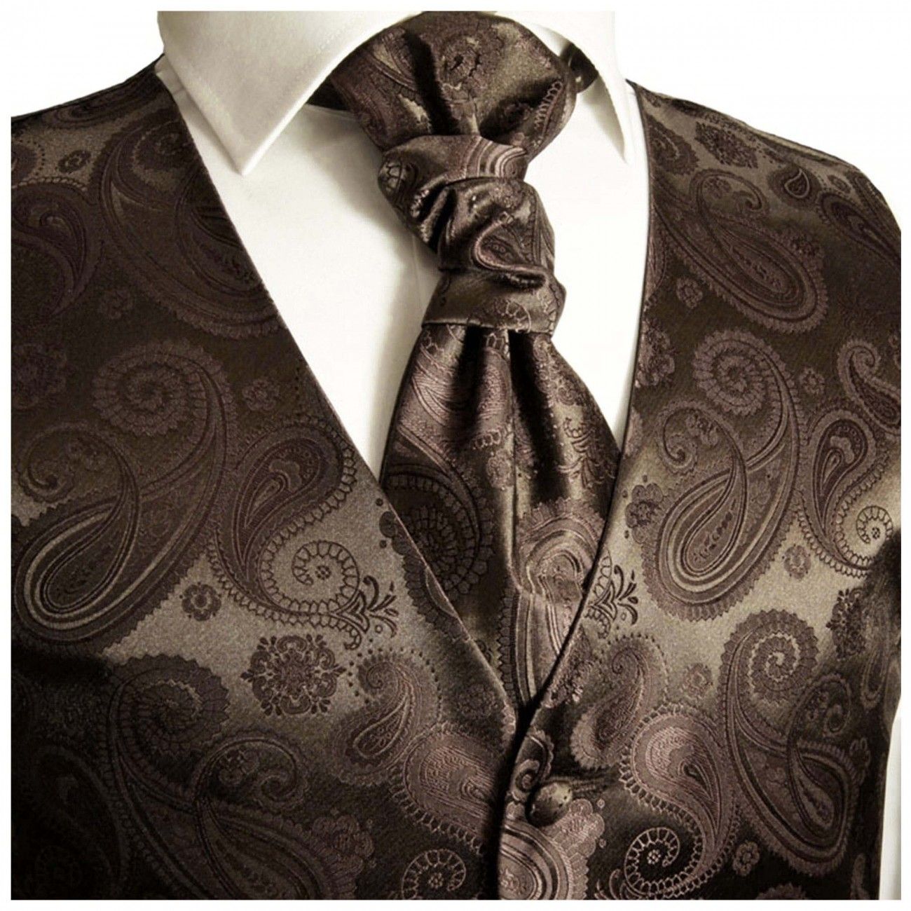 Brown waistcoat for wedding with necktie ascot tie pocket square and cufflinks v96