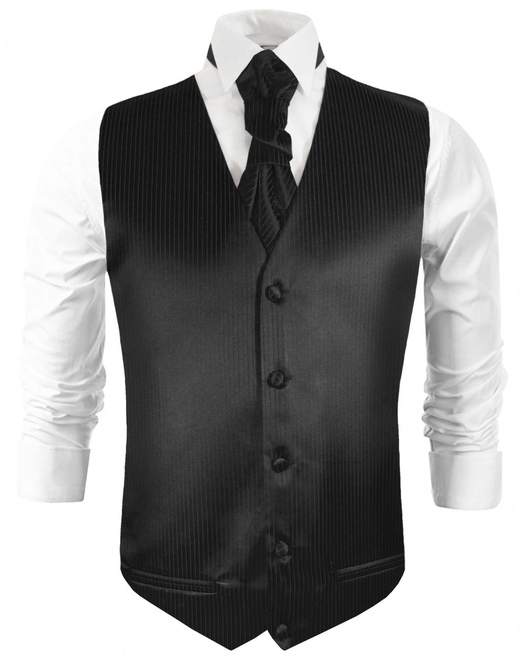Black waistcoat for wedding with necktie ascot tie pocket square and cufflinks v21