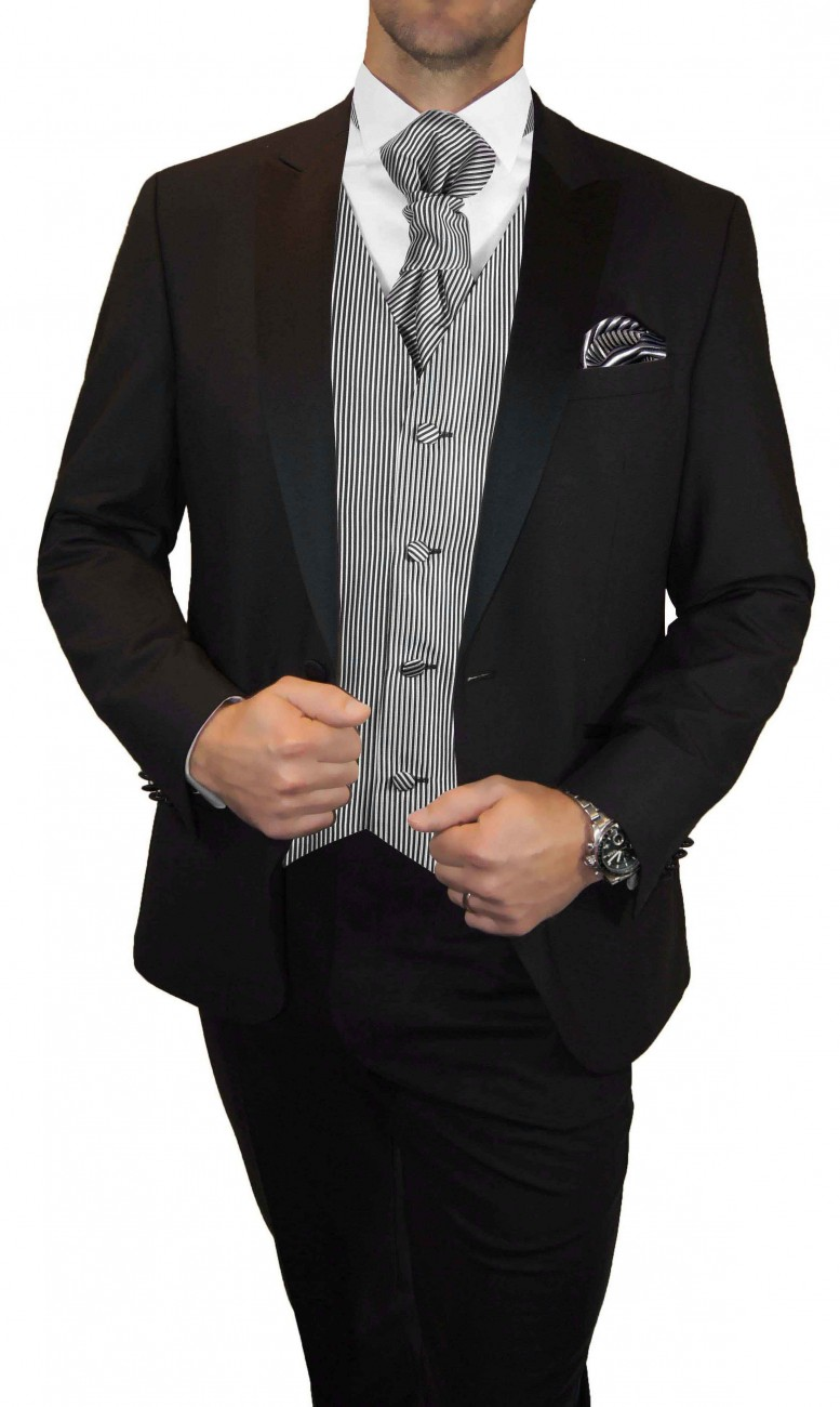 Wedding waistcoat men silver black striped with matching tuxedo v7