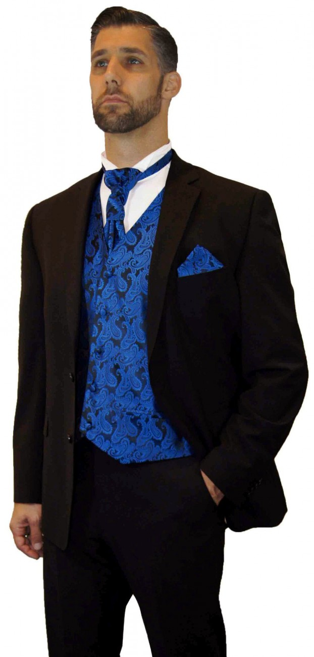 Wedding suit tuxedo brown with blue waistcoat wedding vest