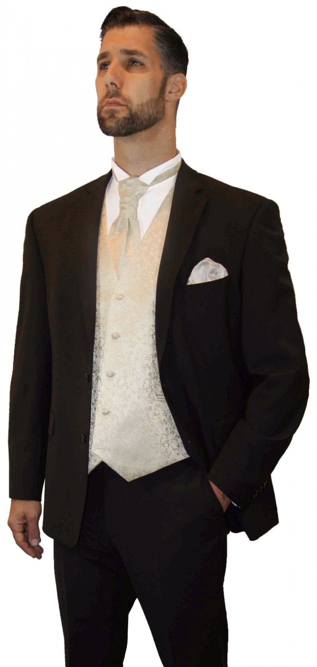Wedding suit tuxedo brown with champagne waistcoat wedding vest