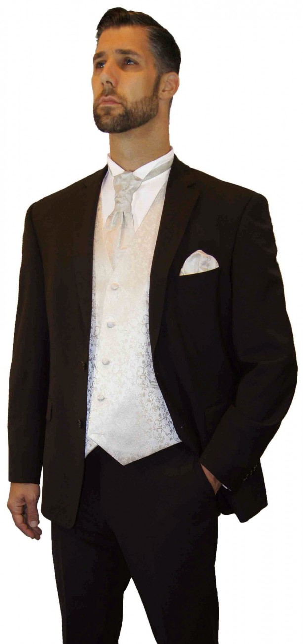 Wedding suit tuxedo brown with ivory waistcoat wedding vest