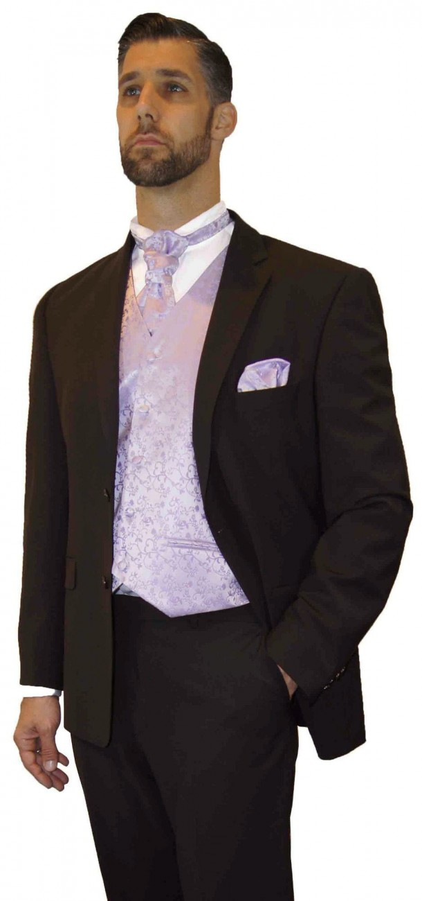 Wedding suit tuxedo brown with purple lilac waistcoat wedding vest
