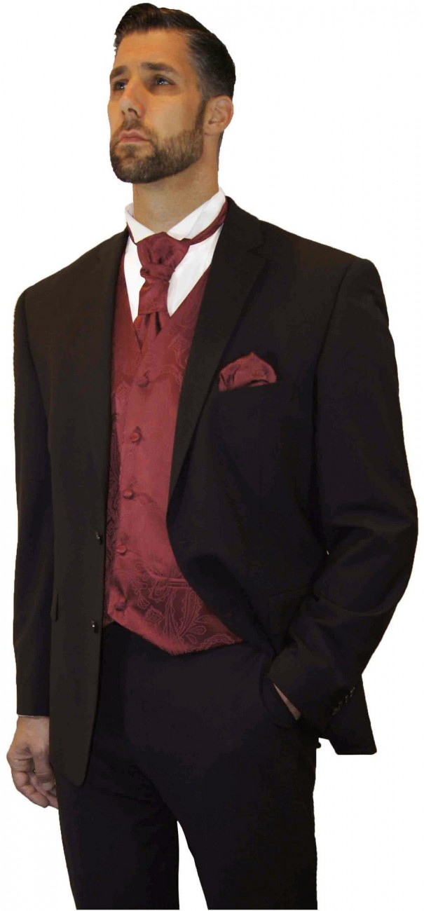 Wedding suit tuxedo brown with burgundy red waistcoat wedding vest