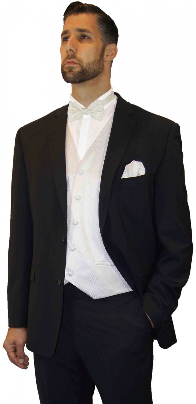 Wedding suit tuxedo black with ivory waistcoat wedding vest