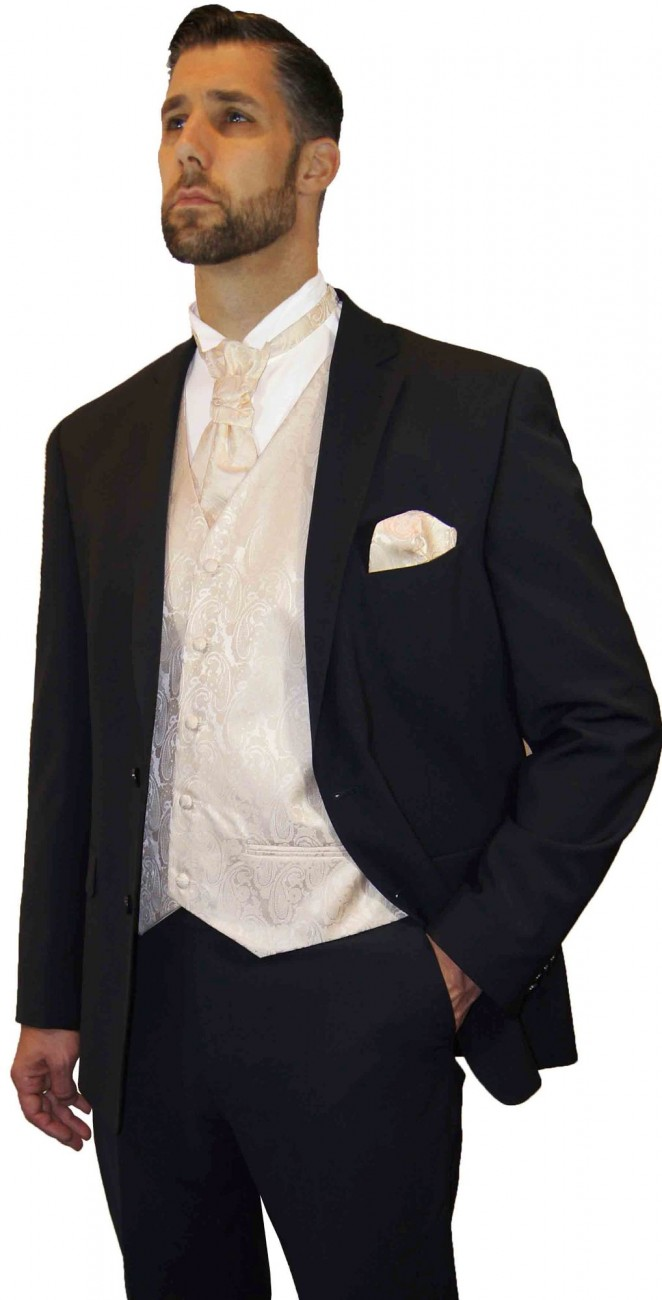 Wedding suit tuxedo black with champagne waistcoat wedding vest