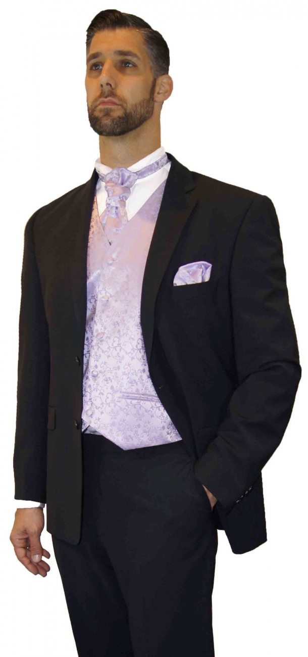 Wedding suit tuxedo black with purple lilac floral waistcoat wedding vest