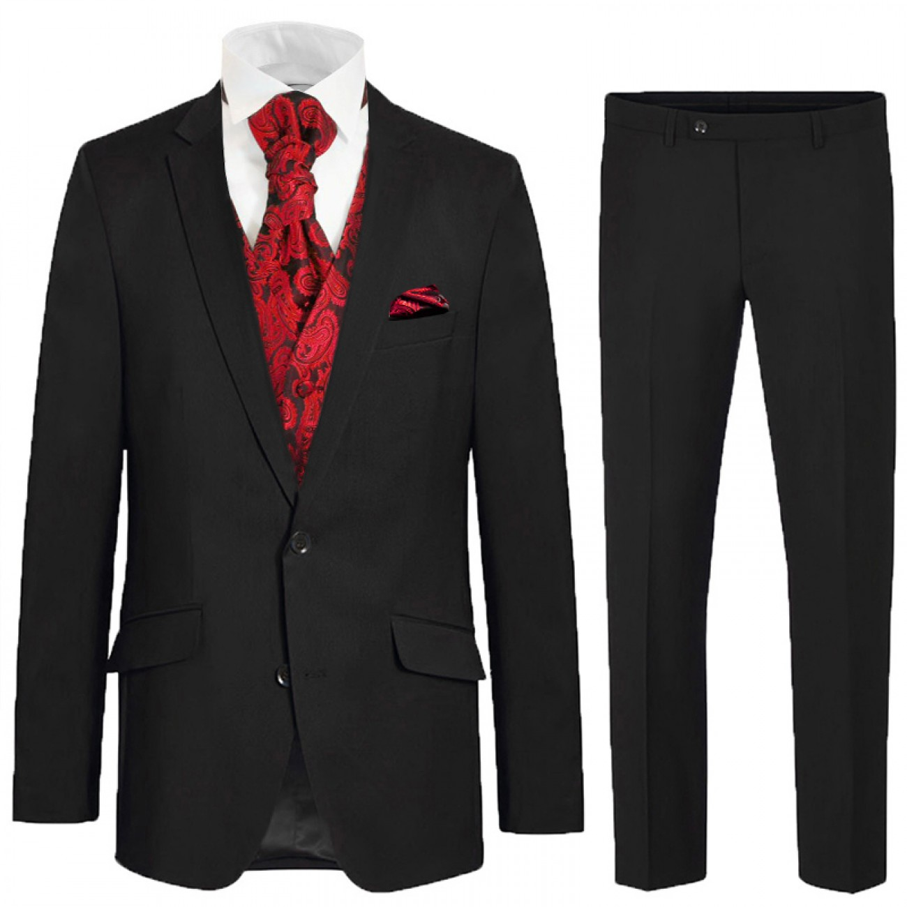 Black Men Wedding Suit 6 Pcs Modern Red Paisley Waistcoat Ha16v99 Paul Malone Shop