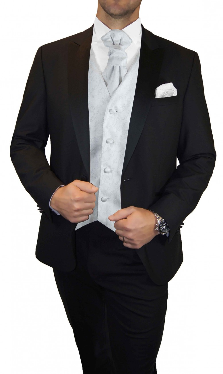 Groom wedding suit tuxedo black with white silver waistcoat wedding vest