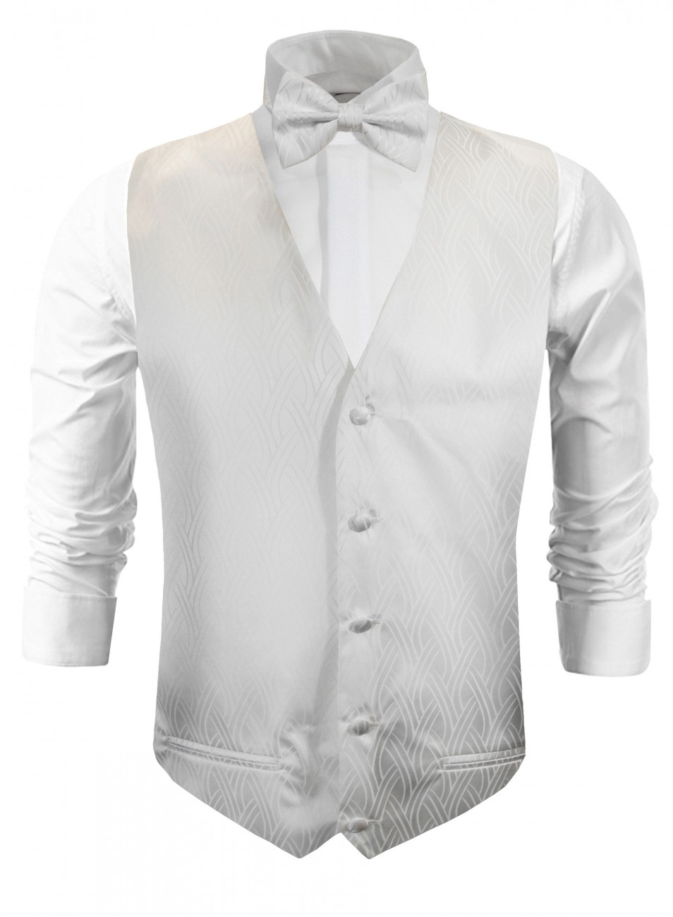 Wedding vest with bow tie ivory off white striped