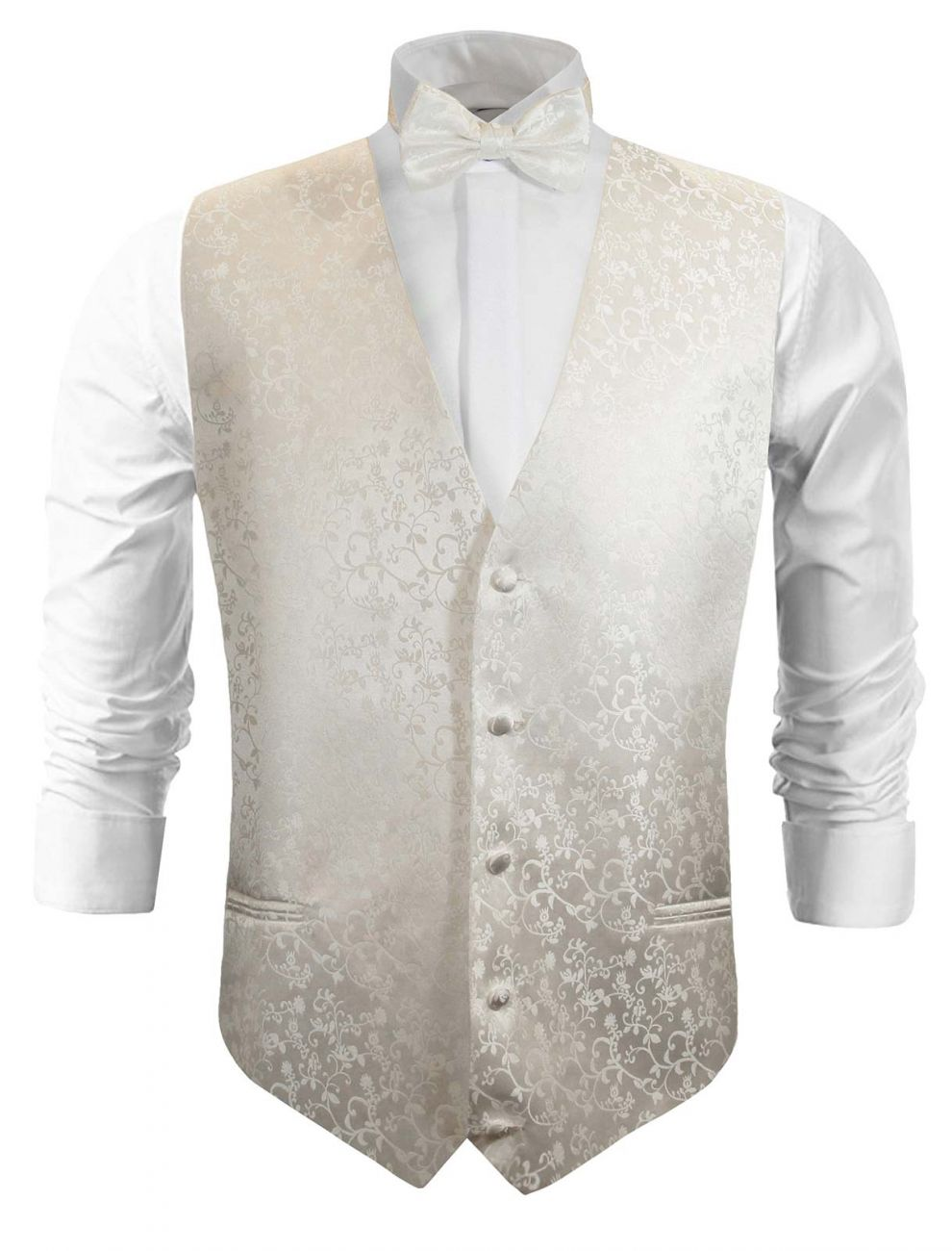 Ivory wedding vest floral waistcoat with bow tie