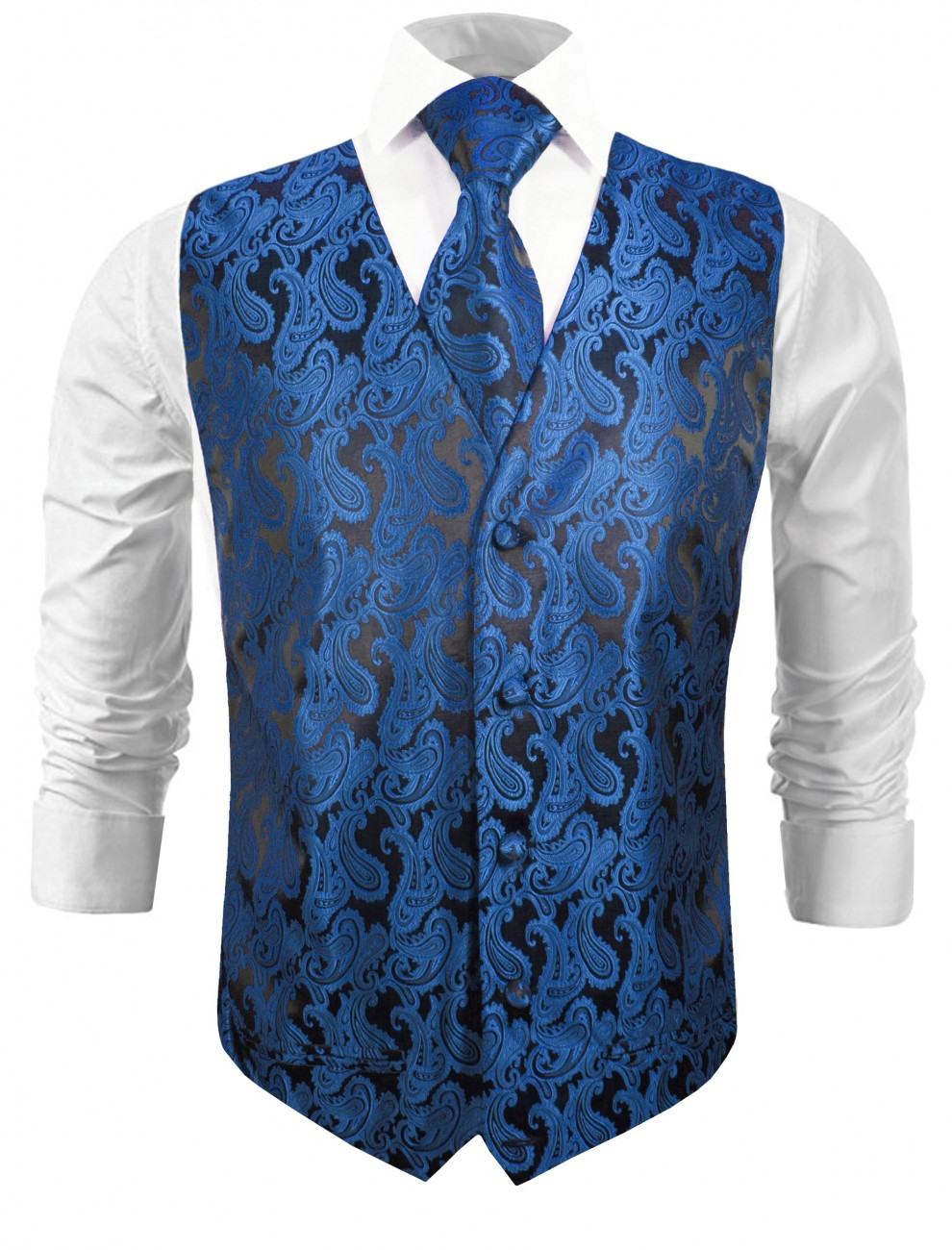 Wedding vest with necktie black blue paisley