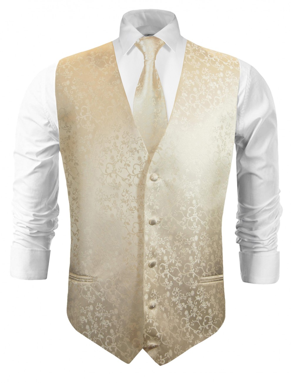 Wedding vest with necktie champagne floral