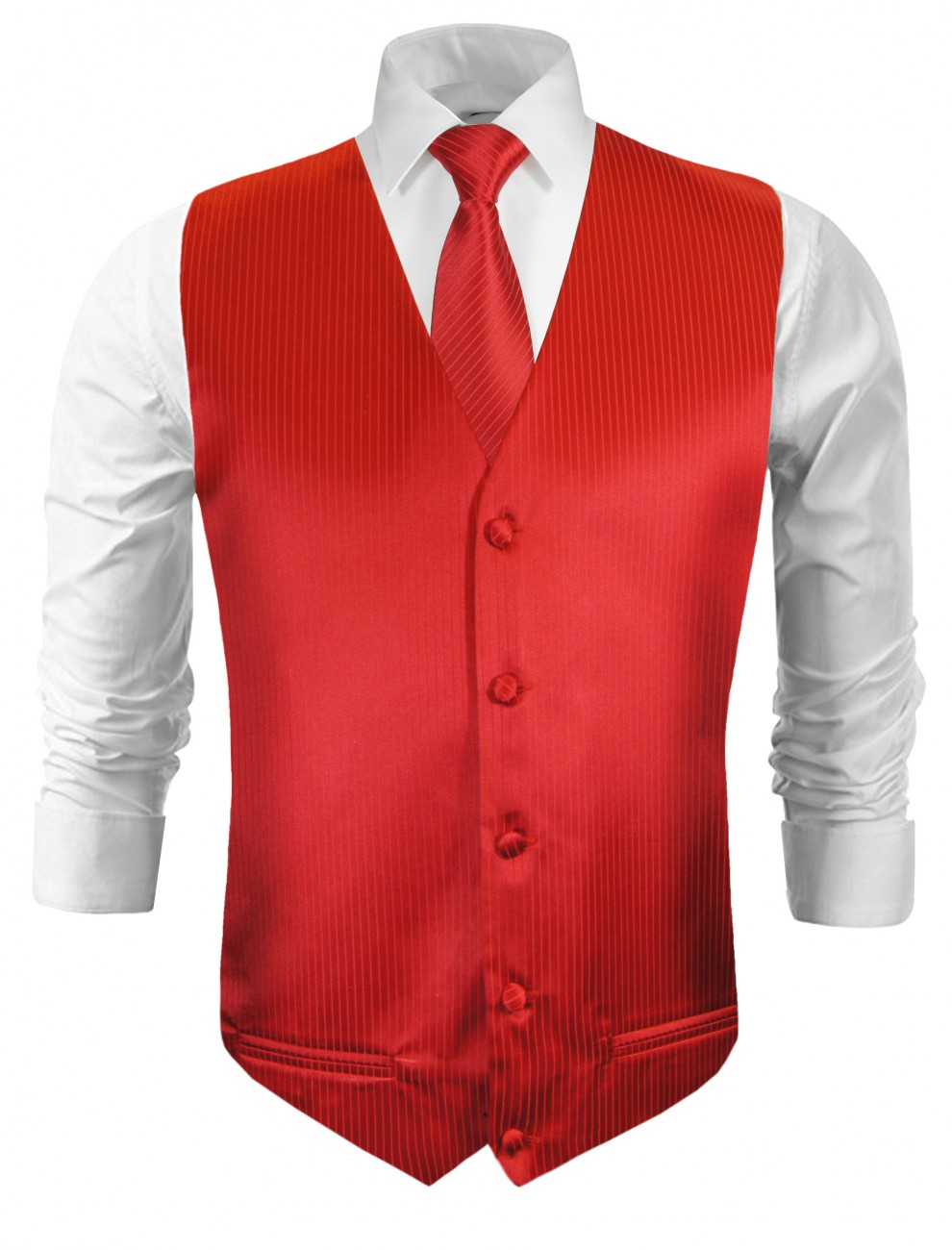 Wedding vest with necktie red solid