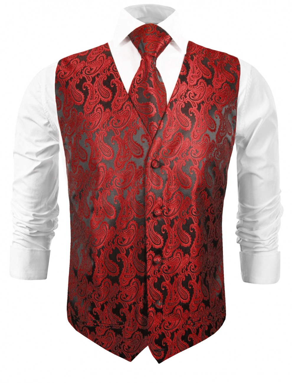 Wedding vest with necktie black red paisley