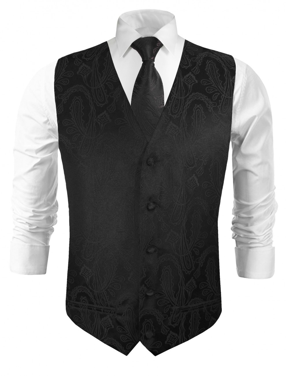 Wedding vest with necktie black paisley