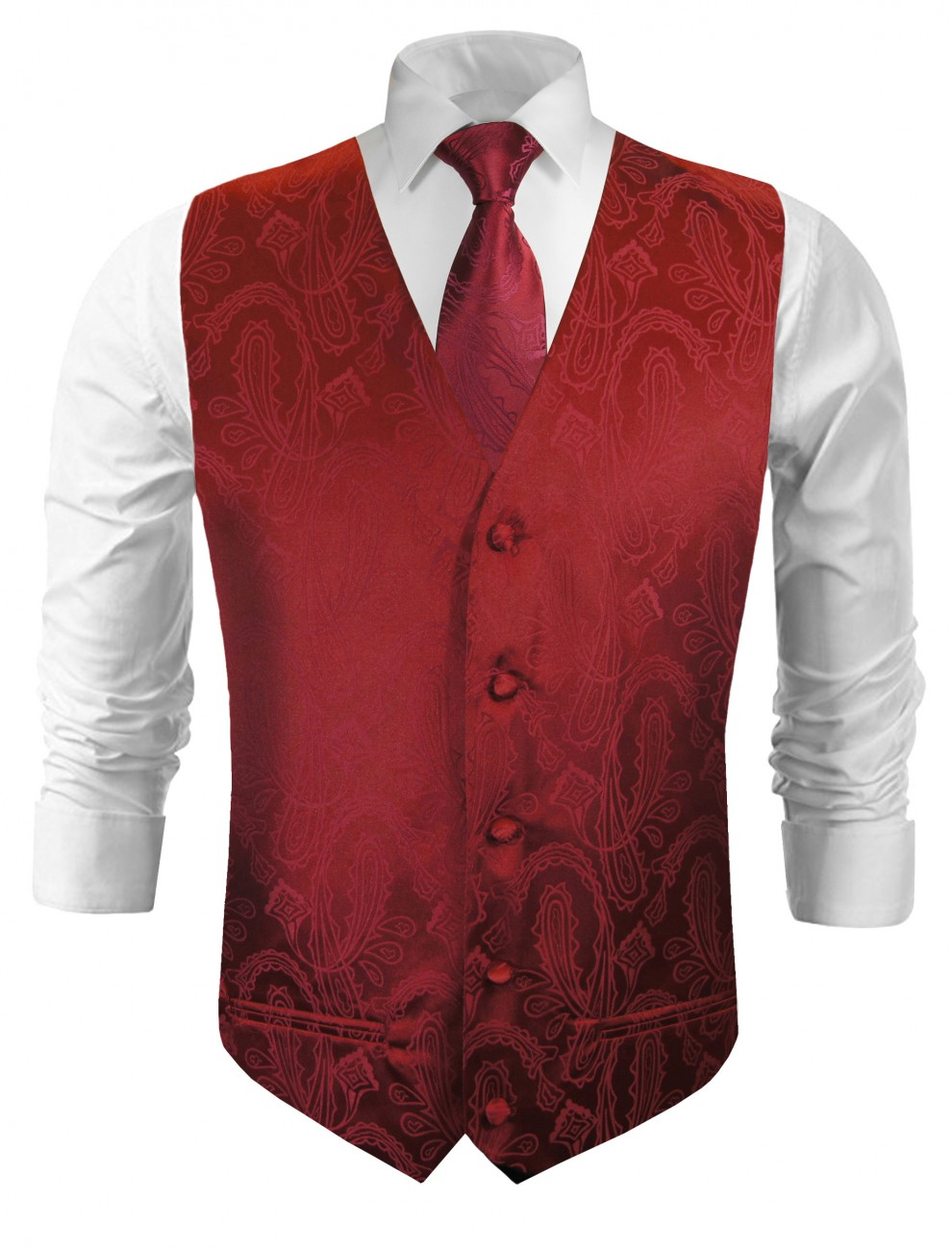 Wedding vest with necktie maroon red paisley