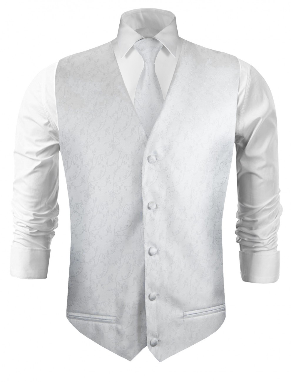 Wedding vest with necktie silver white floral