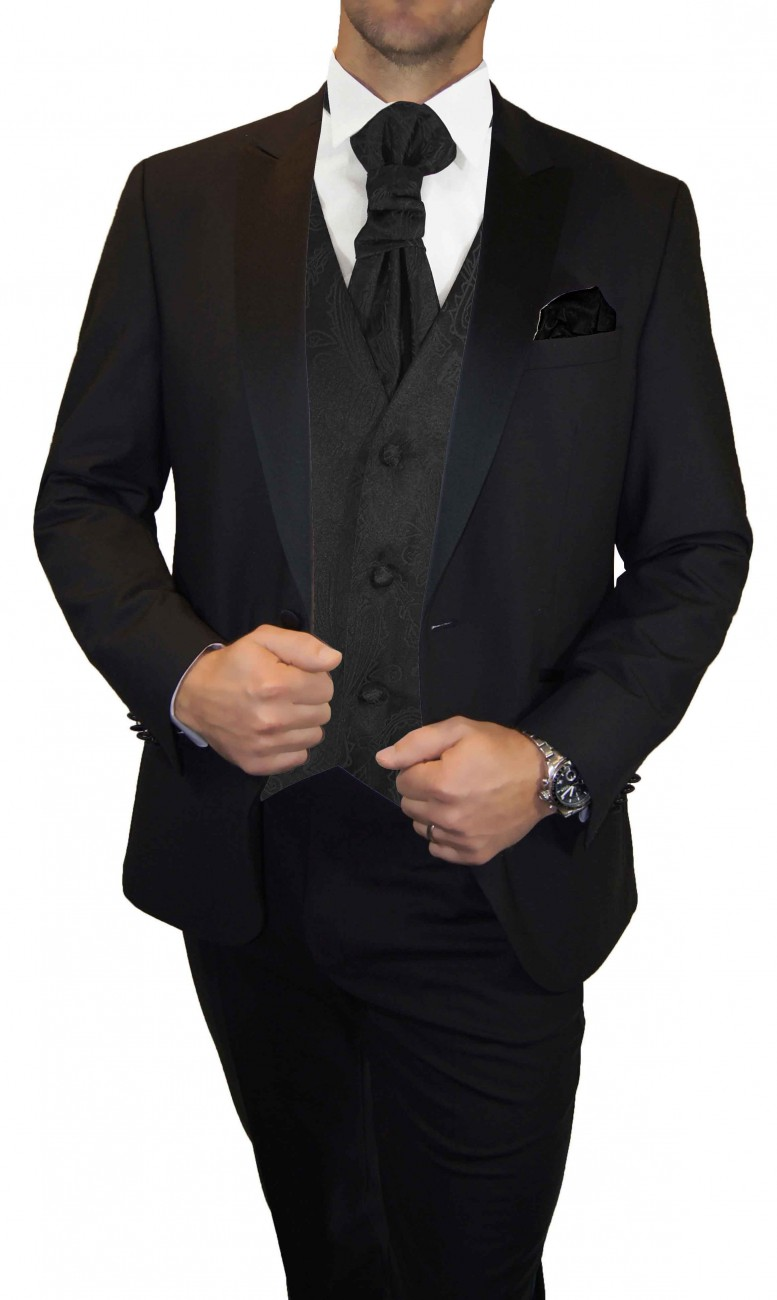 Wedding waistcoat men black paisley with matching tuxedo v2