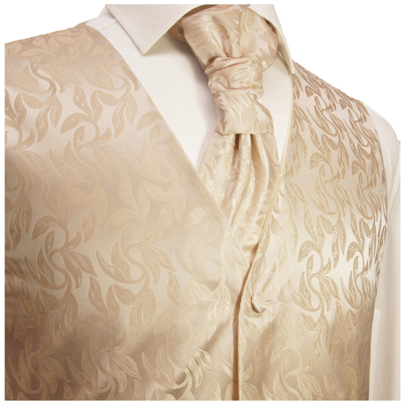 WEDDING VEST SET cappuccino and Shirt white V42HL81