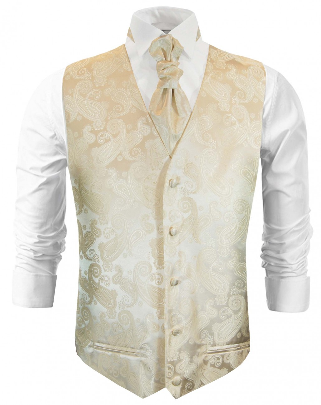 Cream wedding vest paisley waistcoat with cravat