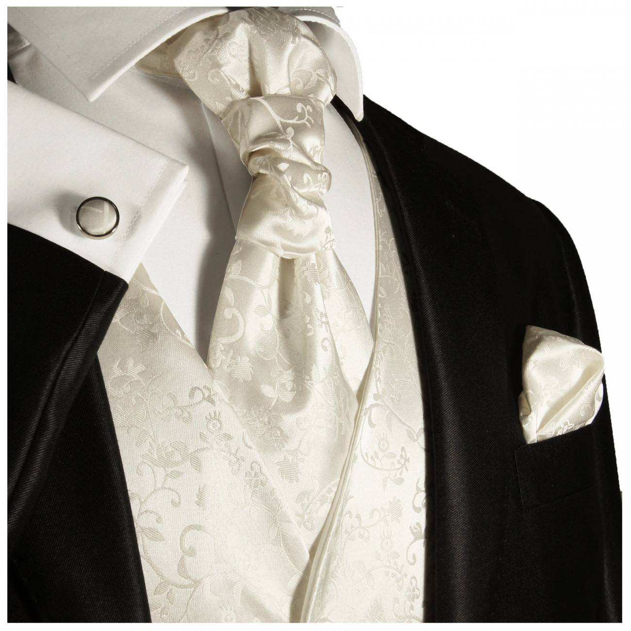 Wedding vest set with ascot tie ivory 41