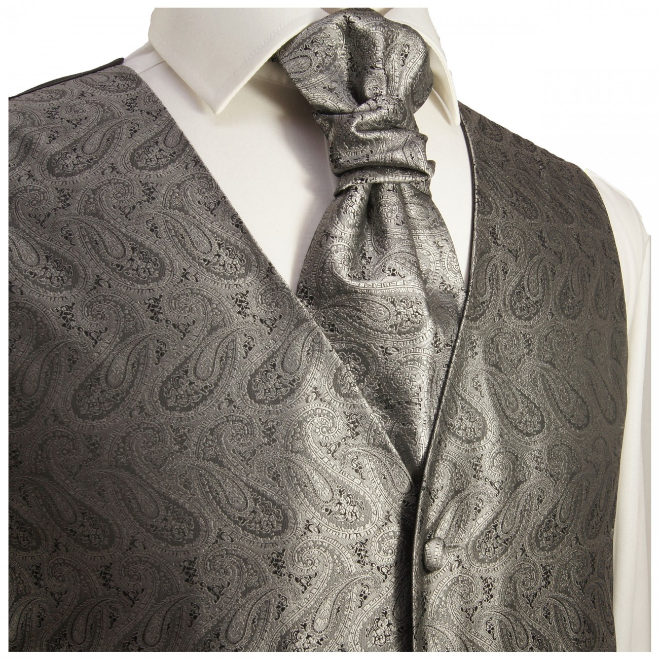 WEDDING VEST SET grey and Smoking Shirt white V30HL25