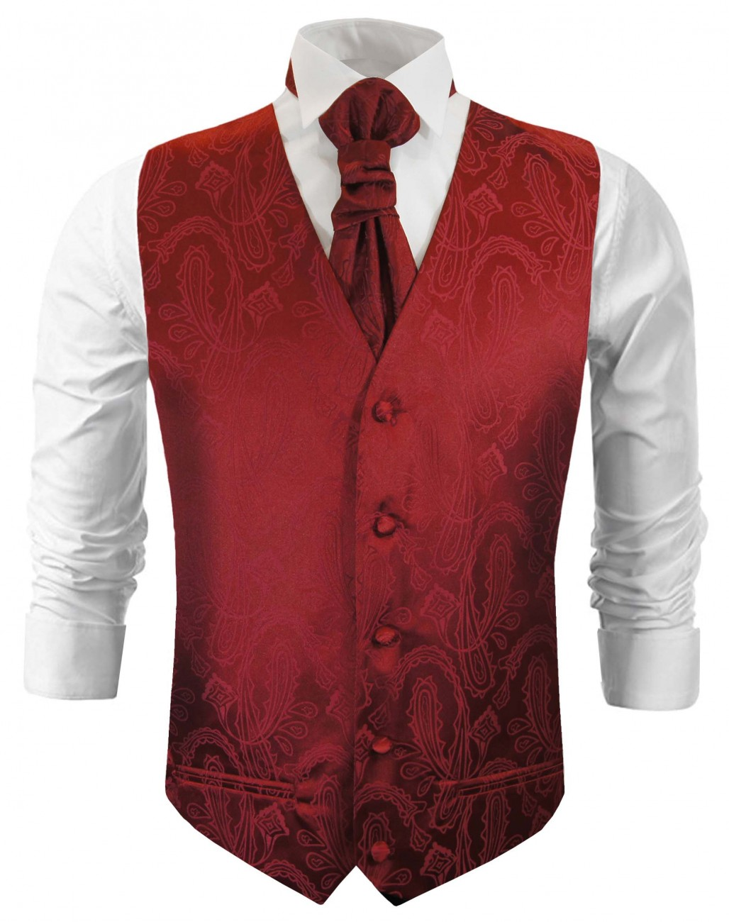 Burgundy red wedding vest waistcoat with cravat