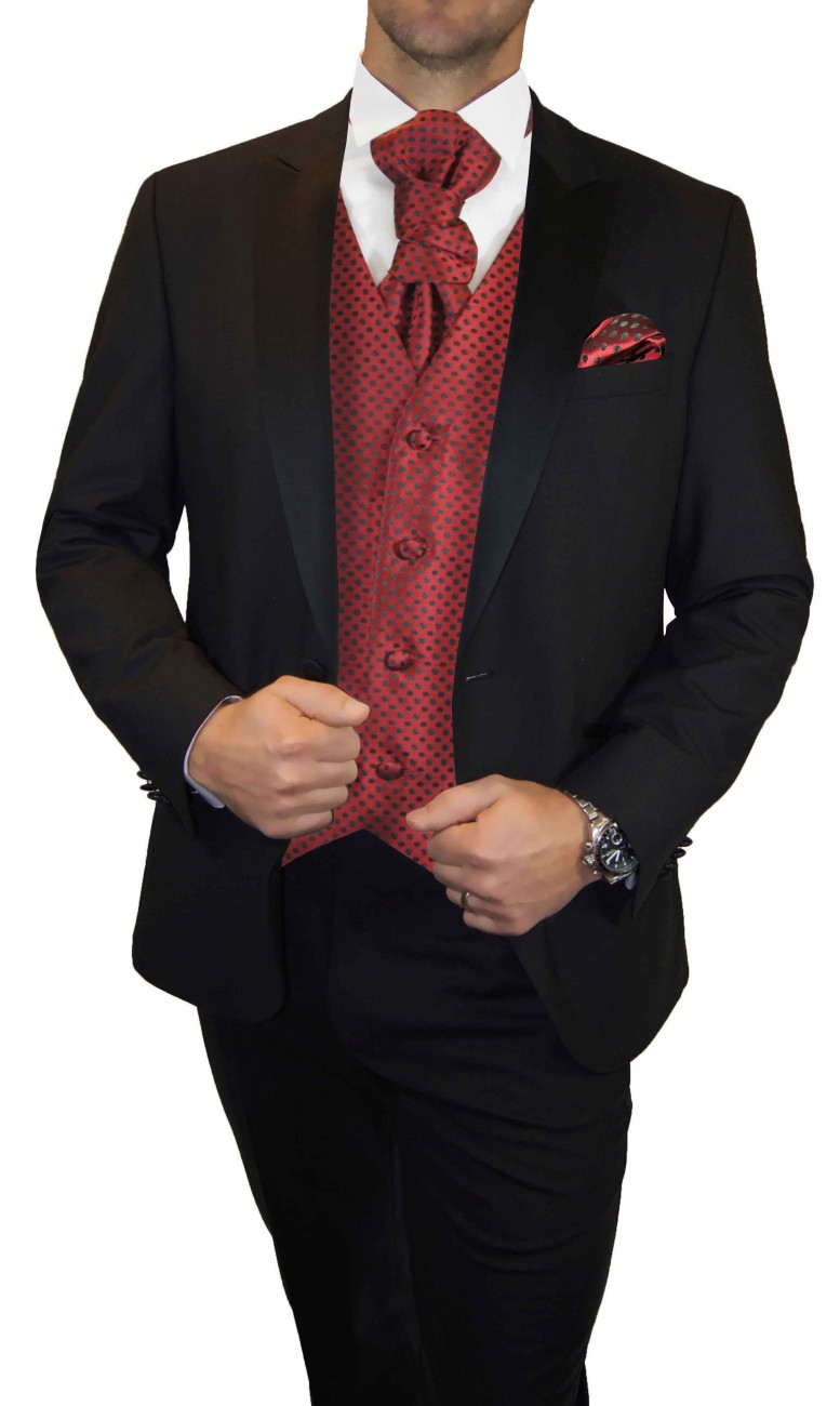 Wedding waistcoat men red polka dots with matching tuxedo v22