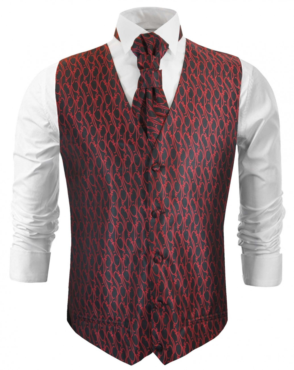 Wedding waistcoat with ascot tie red black baroque