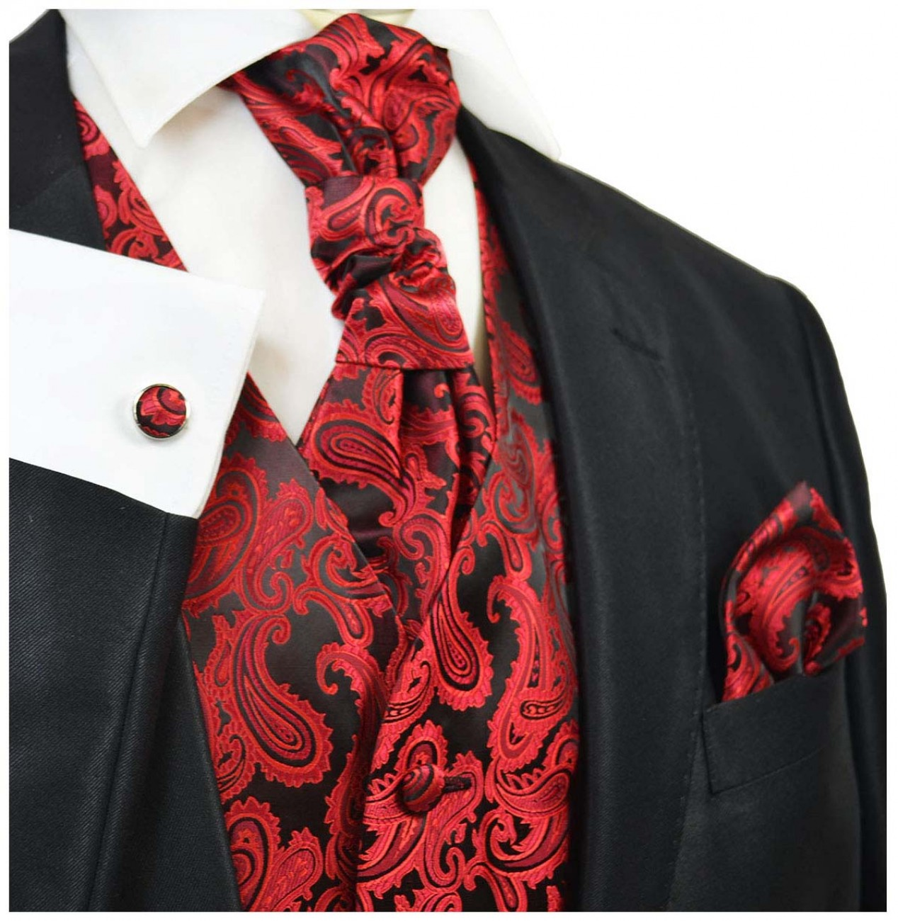 Red wedding mens vest paisley pattern v99