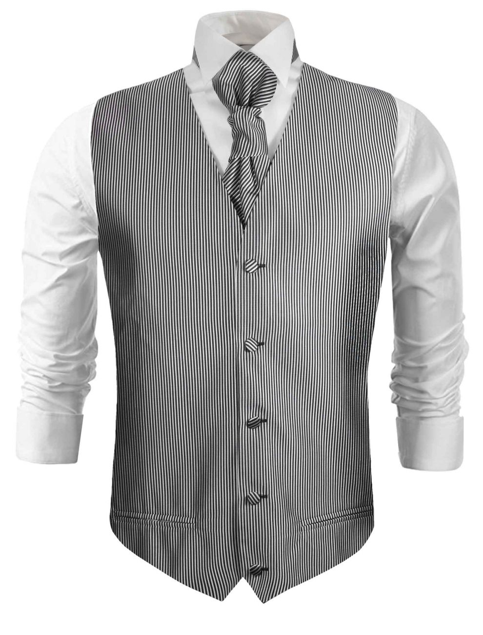 Silver wedding vest striped waistcoat with cravat