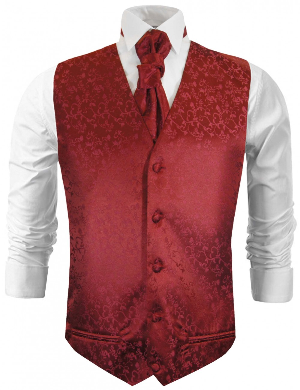 Burgundy red wedding vest floral waistcoat with cravat