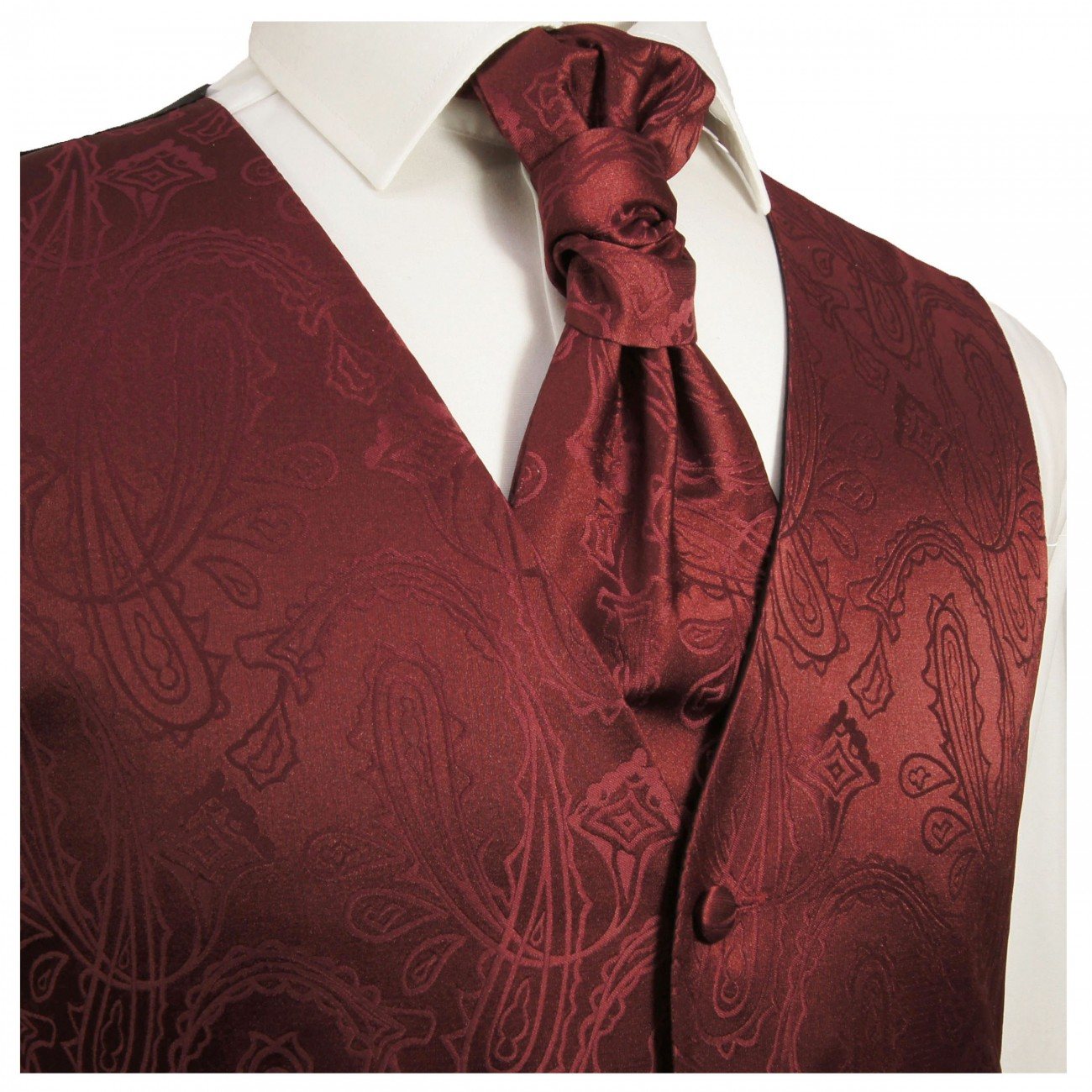 WEDDING VEST SET maroon and SLIM LINE Shirt white V1HL30