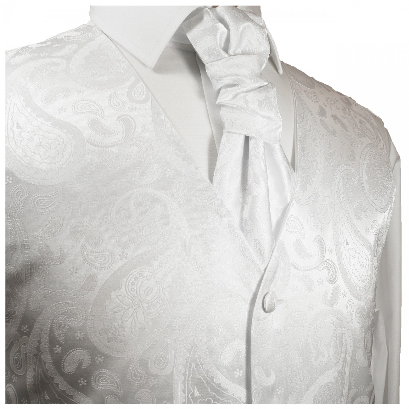 White waistcoat for wedding with necktie ascot tie pocket square and cufflinks v17