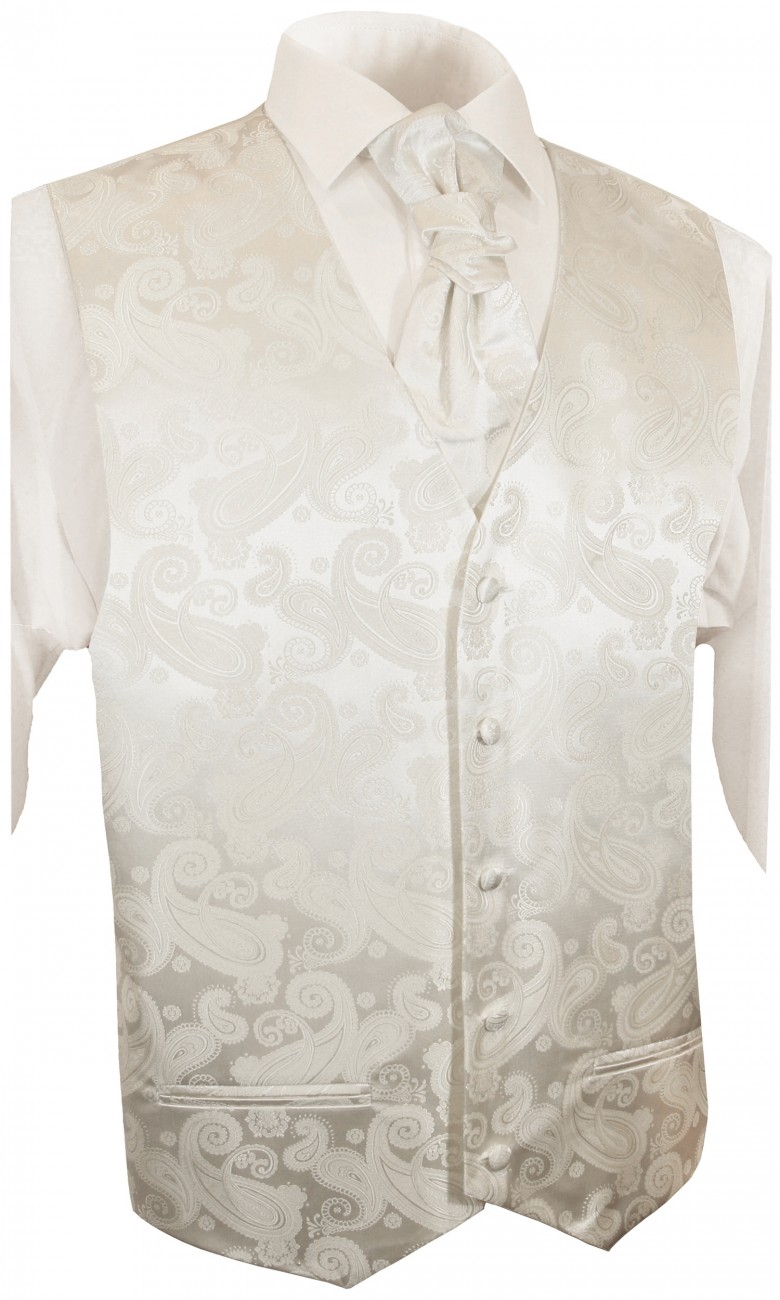 Ivory waistcoat paisley for wedding with necktie ascot tie pocket square and cufflinks v44