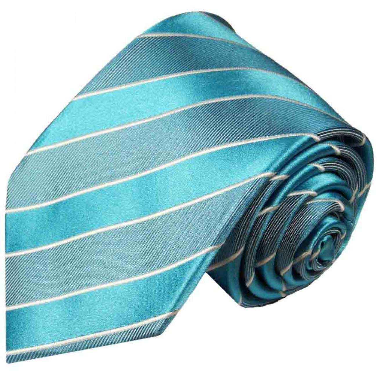 Turquoise striped necktie - silk mens tie and pocket square and cufflinks