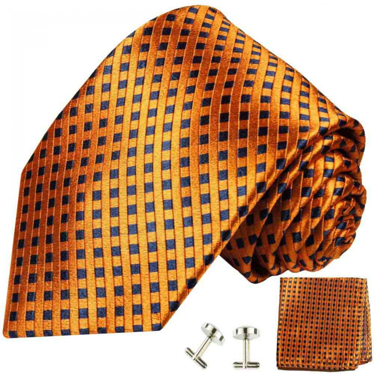 Orange mens tie polka dots necktie - silk tie and pocket square and cufflinks