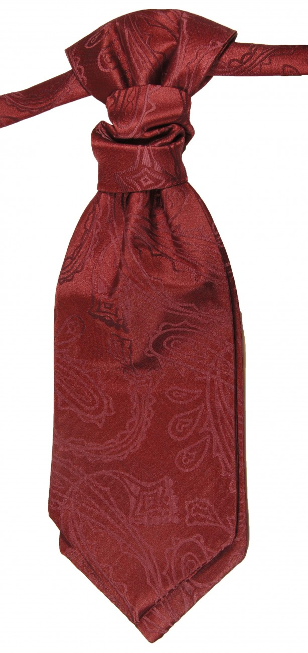 Wedding waistcoat with ascot tie maroon red paisley