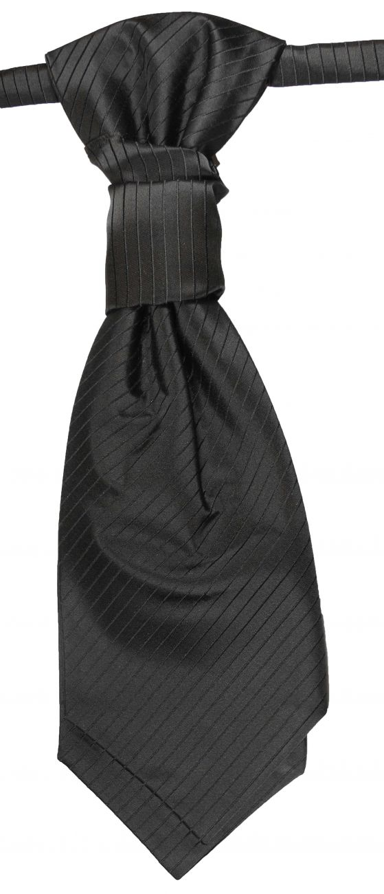 Wedding cravat black striped ascot tie