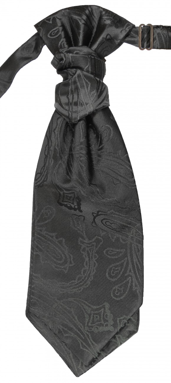 Black paisley ascot tie for wedding v2