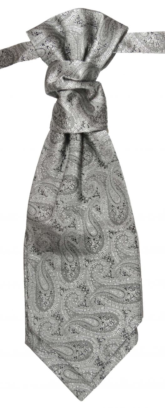 Wedding cravat gray ascot tie