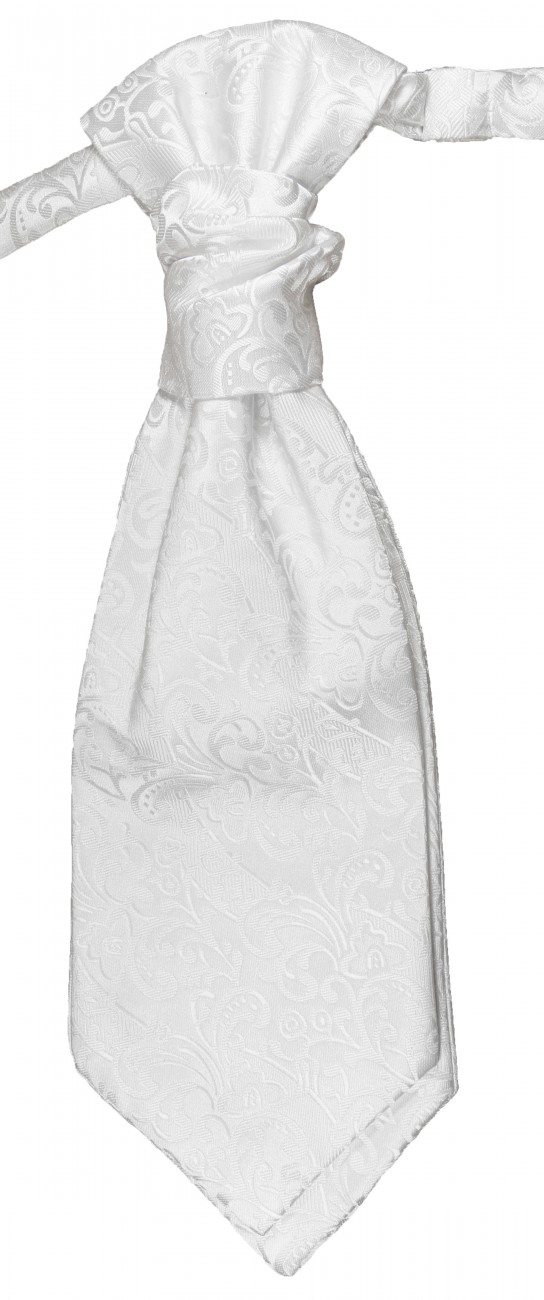 White baroque ascot tie for wedding v43
