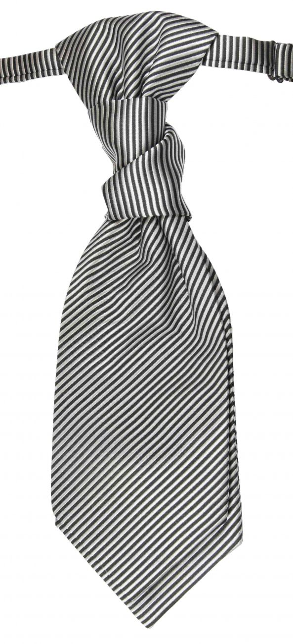 Wedding cravat silver striped ascot tie
