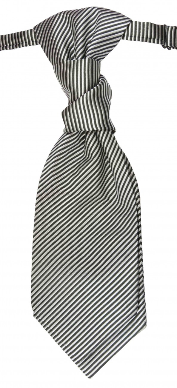 Black silver ascot tie for wedding v7