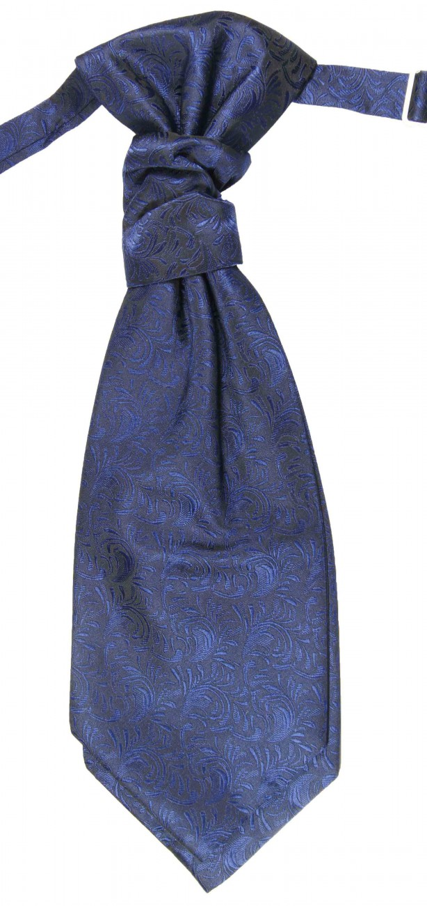 Blue ascot tie for wedding v8