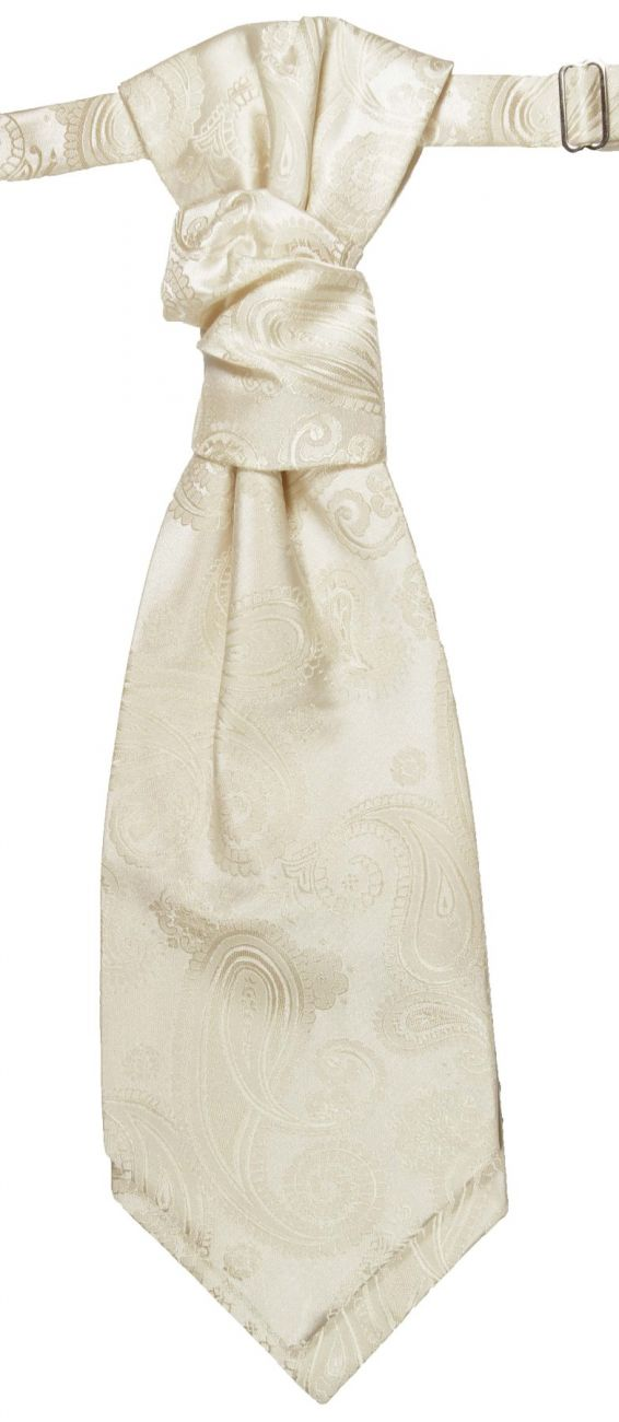 Wedding cravat cream paisley ascot tie