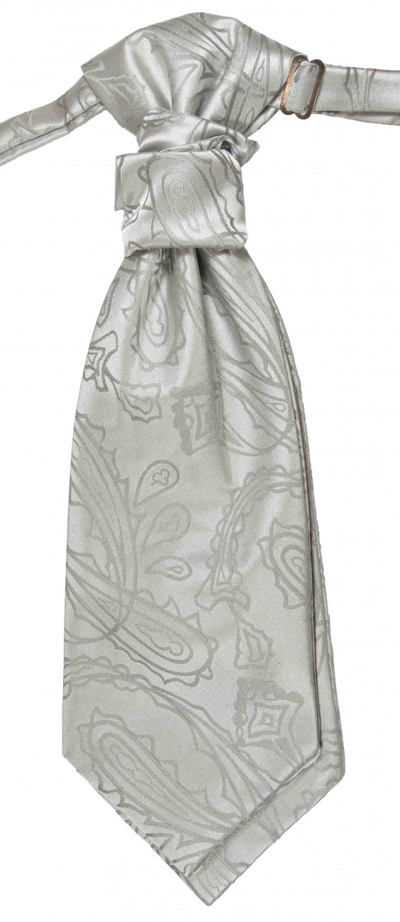 Silver paisley ascot tie for wedding v3
