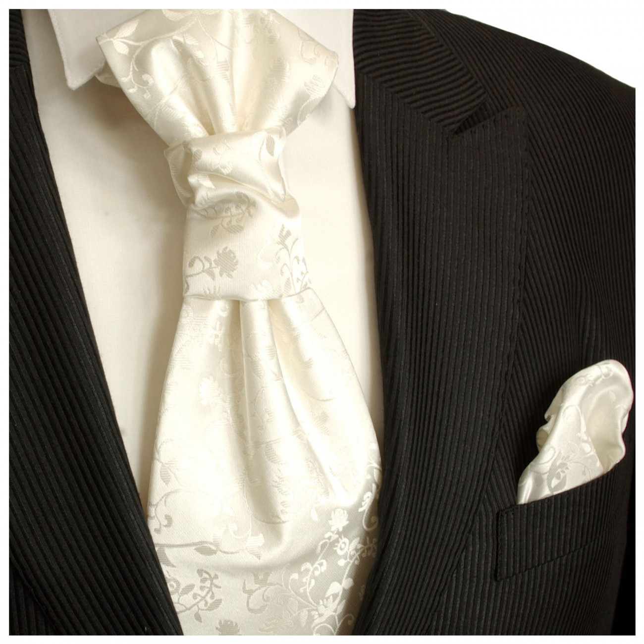 Ivory off-white floral cravat and pocket square | Wedding ascot tie | Plastron