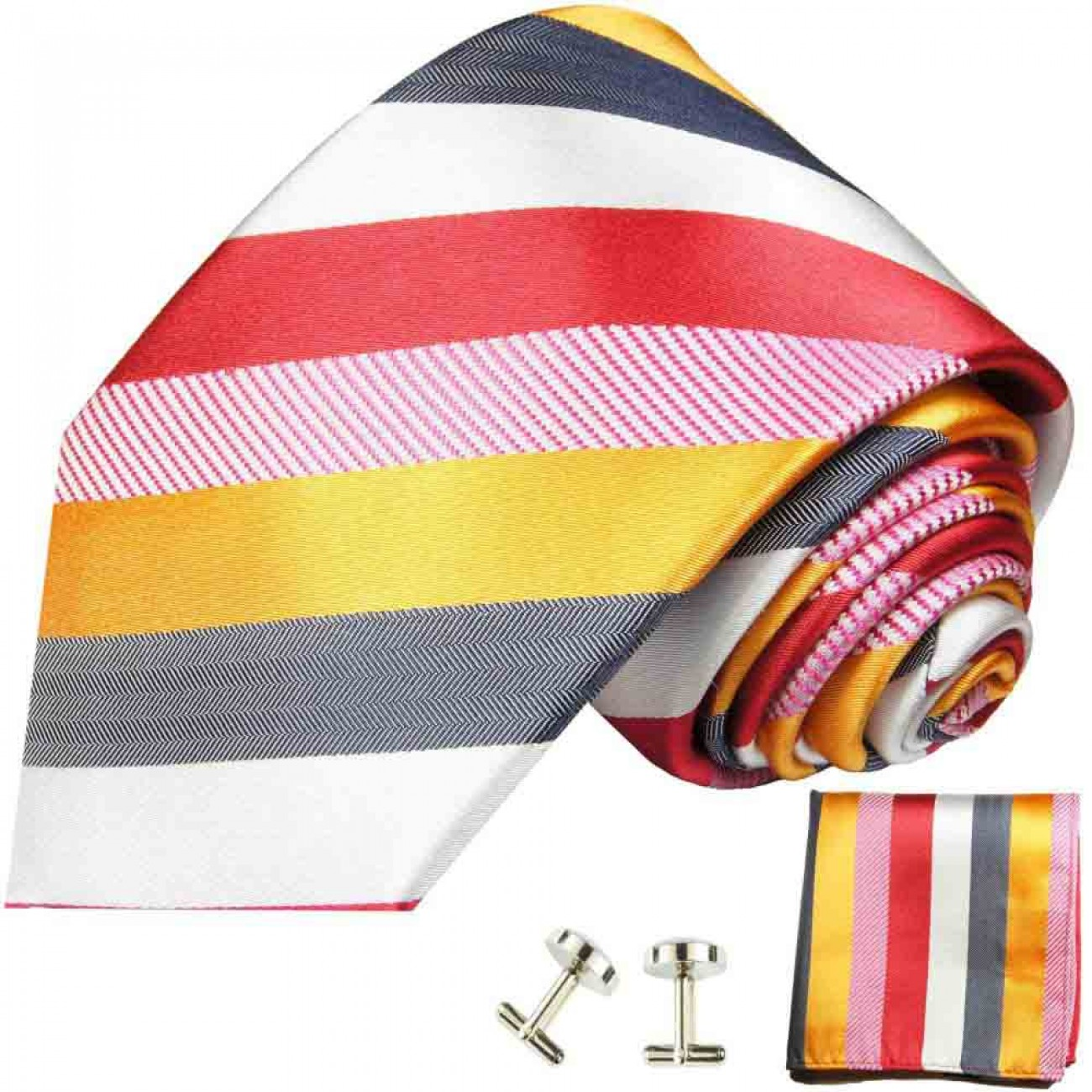Red gold white gray striped necktie - silk mens tie and pocket square and cufflinks